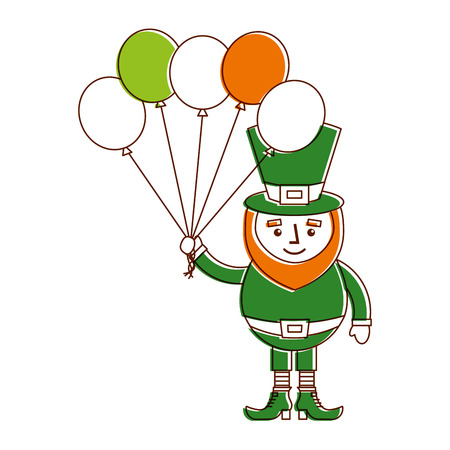 leprechaun character holding bunch of balloons celebration vector illustration Ilustração