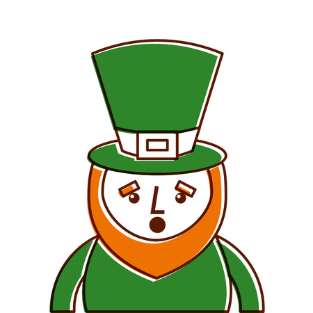 st. patricks day portrait of a surprised leprechaun vector illustration