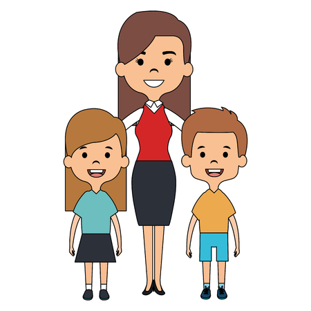 cute mother avatar character with kids vector illustration design Çizim