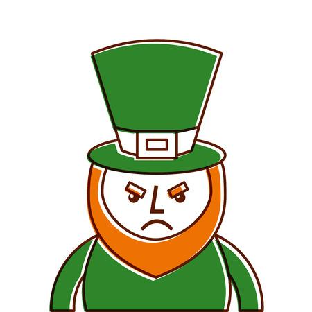 st. patricks day portrait of a angry leprechaun vector illustration Illustration