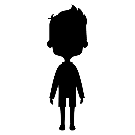 Cute and little boy silhouette vector illustration design