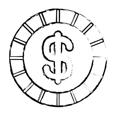 coin money dollar cash currency icon vector illustration sketch image design