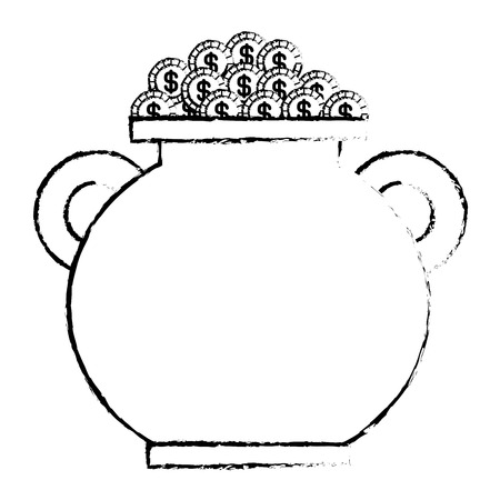 cauldron full gold coins treasure fortune vector illustration sketch image design