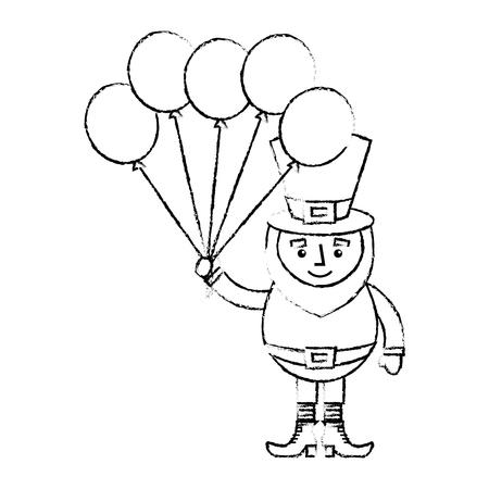 leprechaun character holding bunch of balloons celebration vector illustration sketch image design Illustration