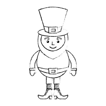 笑顔のレプラコーン漫画セントパトリック日キャラクターベクトルイラストスケッチイメージデザイン  イラスト・ベクター素材