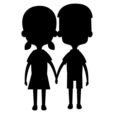 Cute and little kids couple silhouette vector illustration design