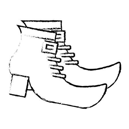 pair boot shoes of leprechaun vector illustration sketch image design