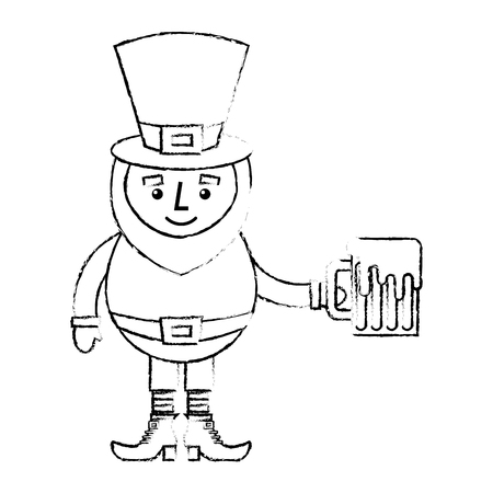 leprechaun character holding beer sketch vector illustration sketch image design
