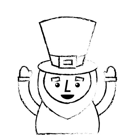 st. patricks day portrait of a leprechaun with arms up vector illustration sketch image design