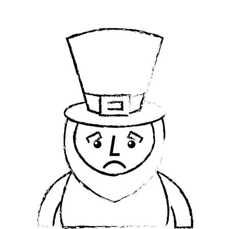 st. patricks day portrait of a sad leprechaun vector illustration sketch image design