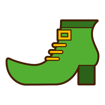green shoe boot accessory of leprechaun vector illustration