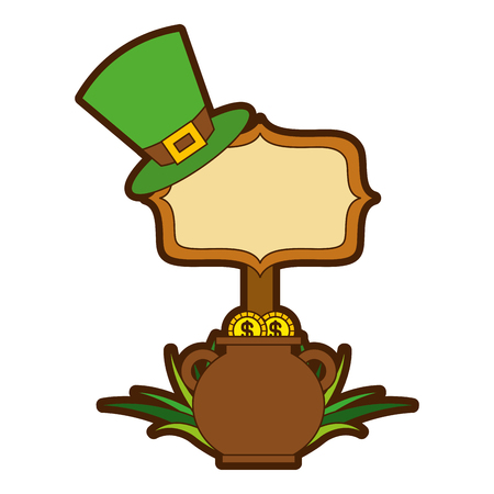 cauldron gold coins green hat and sing board vector illustration Banque d'images - 94674204
