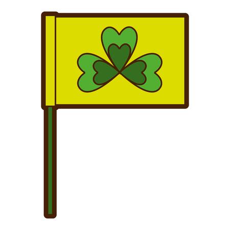 green flag with clover symbol vector illustration