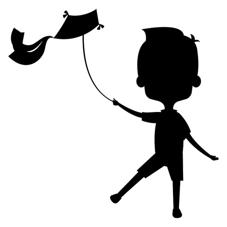cute and little boy flying a kite silhouette vector illustration design