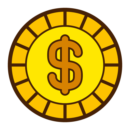 golden coin money dollar cash icon vector illustration