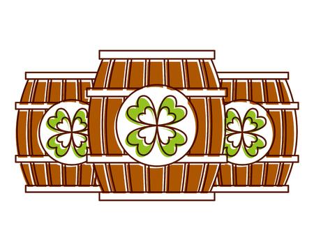 three wooden barrel drink clover vector illustration