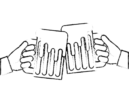hands holding beer mug foam celebration vector illustration sketch image design Иллюстрация
