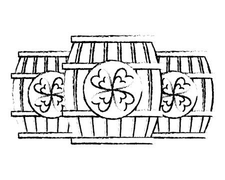 three wooden barrel drink clover vector illustration sketch image design Ilustração