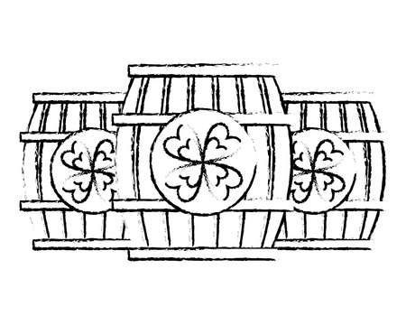 three wooden barrel drink clover vector illustration sketch image design Imagens - 94689212