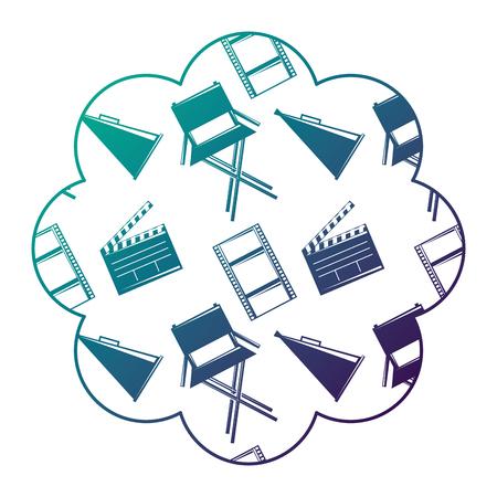 label with film movie chair megaphone and clapperboard vector illustration degraded color design Illustration