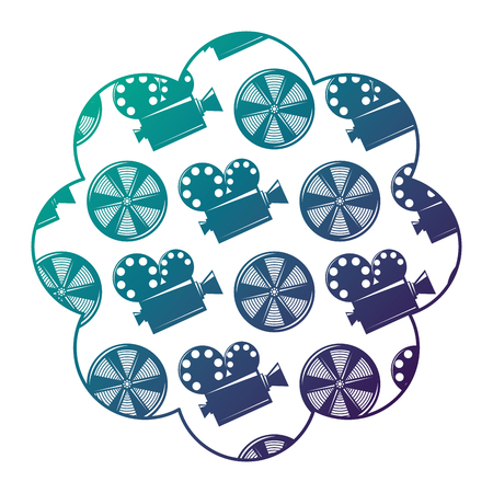 label with movie camera projector and reel film vector illustration degraded color design