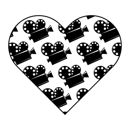 heart label with film cinema movie projector vector illustration black and white image design