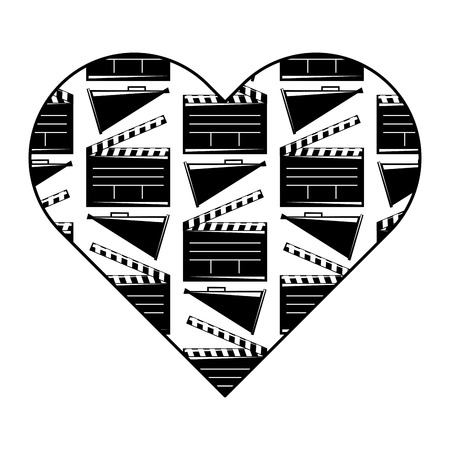 heart label with movie cinema clapperboard and megaphone vector illustration black and white image design