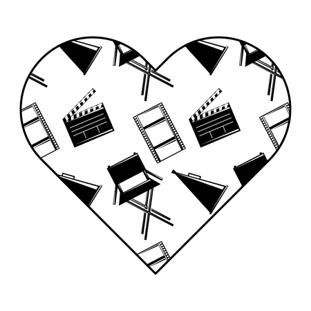 label heart with film movie chair megaphone and clapperboard vector illustration black and white image design
