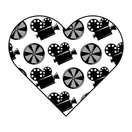 label heart with movie camera projector and reel film vector illustration black and white image design