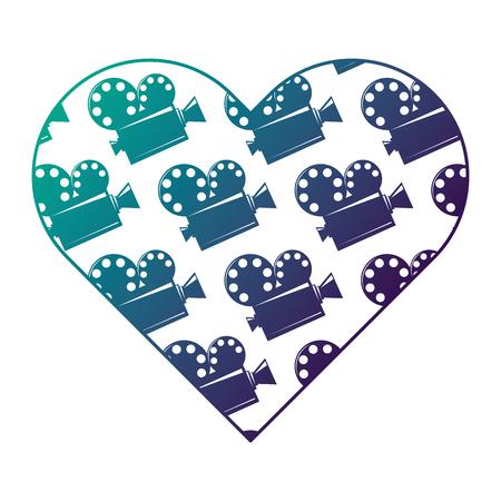 heart label with film cinema movie projector vector illustration degraded color design