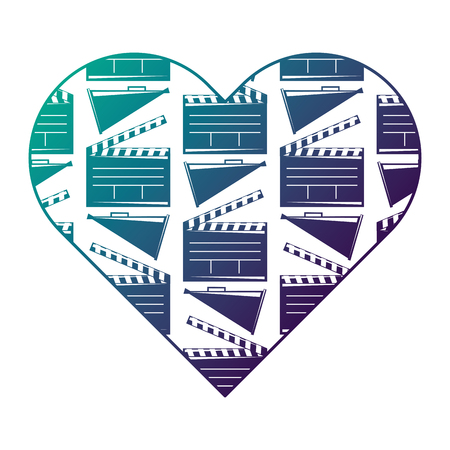 heart label with movie cinema clapperboard and megaphone vector illustration degraded color design