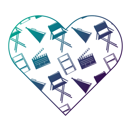 label heart with film movie chair megaphone and clapperboard vector illustration degraded color design