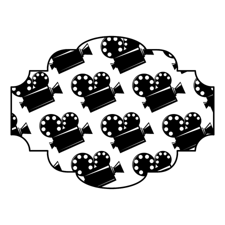 badge with film cinema movie projector vector illustration black and white image design