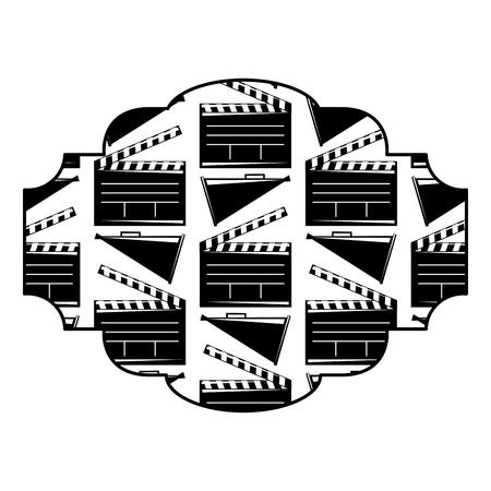 영화 시네마 clapperboard와 확성기 벡터 일러스트 레이 션 배지 흑백 이미지 디자인