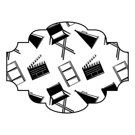 badge with film movie chair megaphone and clapperboard vector illustration black and white image design