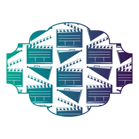 Badge with movie cinema clapperboard and megaphone vector illustration degraded color design