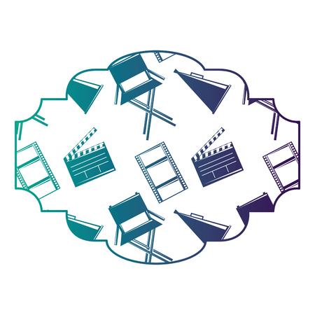 映画映画チェアメガホンとクラッパーボードベクトルイラスト付きバッジ ●カラーデザイン  イラスト・ベクター素材