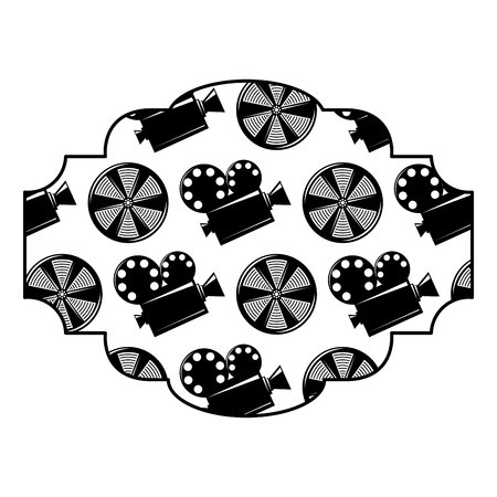 badge with movie camera projector and reel film vector illustration black and white image design