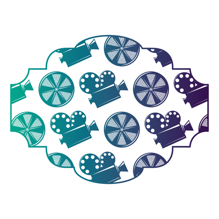 Badge with movie camera projector and reel film vector illustration degraded color design