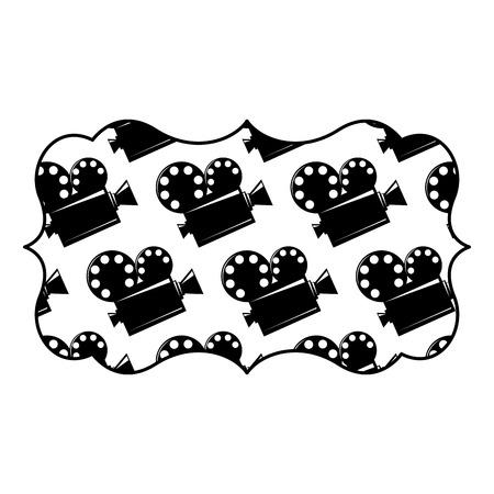 Vintage label with film cinema movie projector vector illustration black and white image design