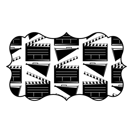 vintage label with movie cinema clapperboard and megaphone vector illustration black and white image design