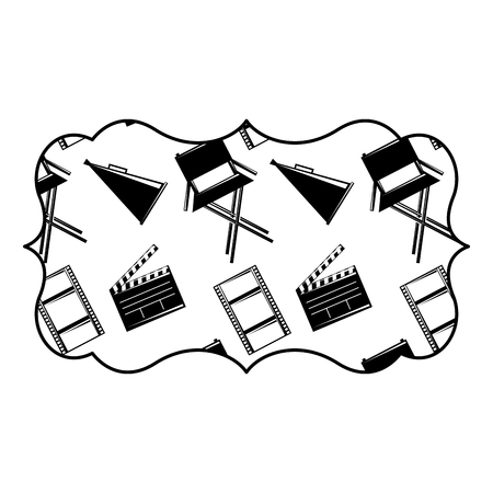 vintage label with film movie chair megaphone and clapperboard vector illustration black and white image design