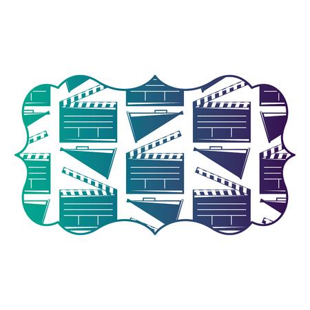 영화 시네마 clapperboard와 확성기 벡터 일러스트 레이 션 빈티지 레이블 저하 된 색상 디자인