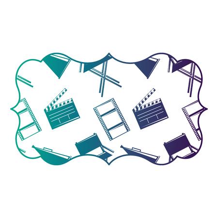 vintage label with film movie chair megaphone and clapperboard vector illustration degraded color design