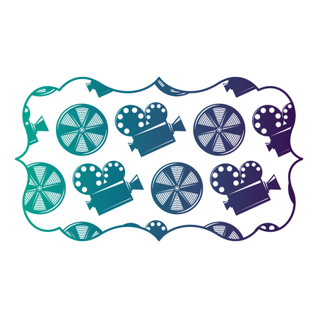 vintage label with movie camera projector and reel film vector illustration degraded color design