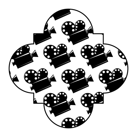 retro stamp with film cinema movie projector vector illustration black and white image design