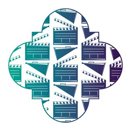 영화 시네마 clapperboard와 확성기 벡터 일러스트 레이 션 복고풍 스탬프 저하 된 색상 디자인