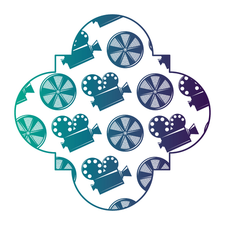 retro stamp with movie camera projector and reel film vector illustration degraded color design