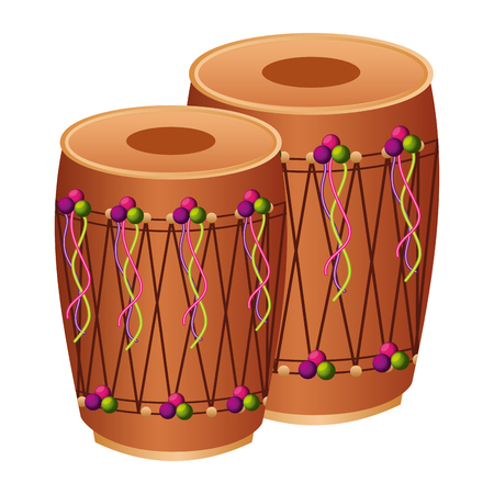 pair musical instrument punjabi drum dhol indian traditional vector illustration Stok Fotoğraf - 94674769