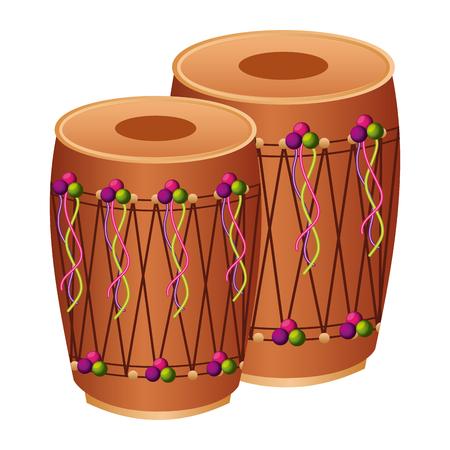 pair musical instrument punjabi drum dhol indian traditional vector illustration